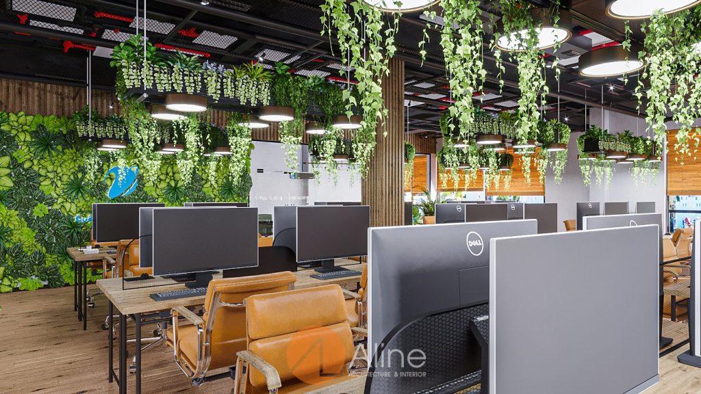 Thiết kế khu làm việc nhân viên theo phong cách công nghiệp