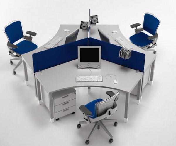 Mẫu bàn văn phòng thiết kế đẹp cho nhân viên cụm 3 người
