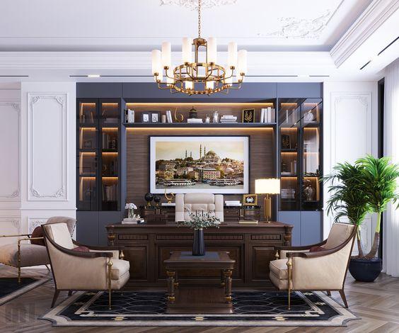 Thiết kế phòng Giám đốc đẹp bằng họa tiết trang trí đặc trưng của phong cách tân cổ điển