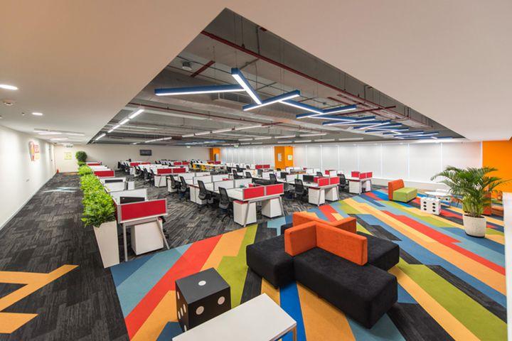 Thiết kế văn phòng làm việc công ty game GSN của Ấn Độ sử dụng nhều màu sắc nổi bật