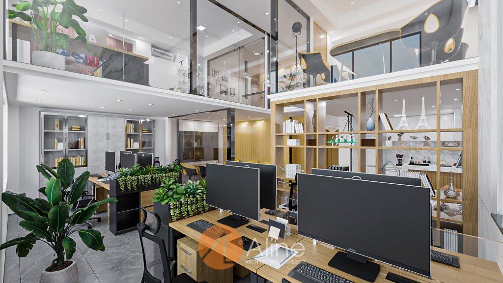 Thiết kế không gian làm việc nhân viên của mẫu nhà văn phòng 2 tầng hiện đại