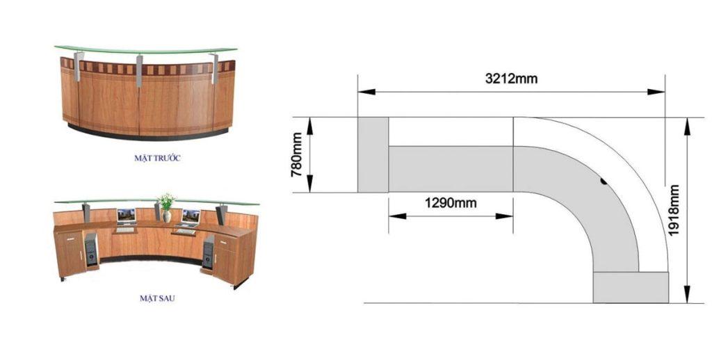 5 Tips thiết kế thi công quầy lễ tân văn phòng khoa học, hiện đại
