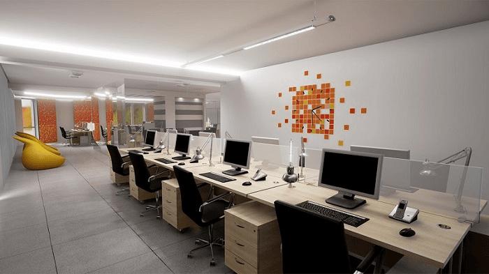 Mẫu thiết kế văn phòng nhỏ gọn 30m2 theo dãy bàn dài