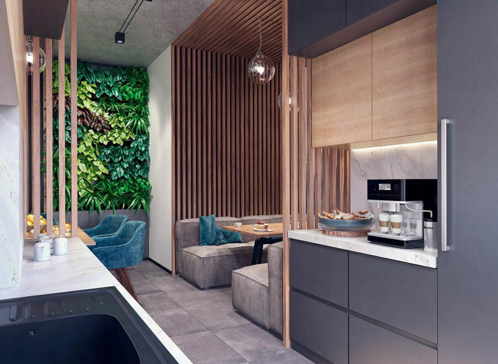 Pantry văn phòng được thiết kế như một gian bếp trong nhà ở