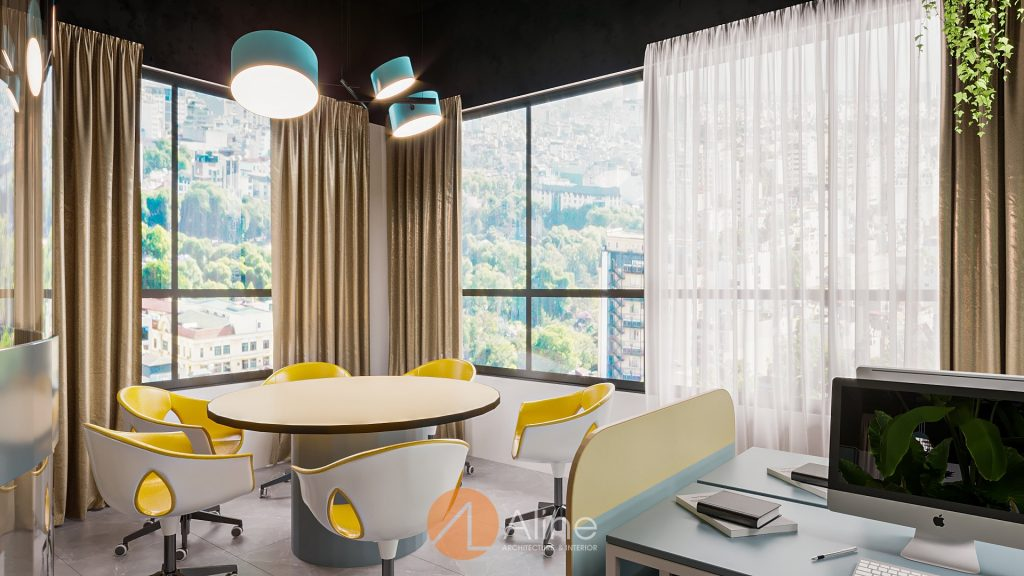Pantry văn phòng được thiết kế với nội thất ấn tượng, có view đẹp nhìn từ cửa sổ