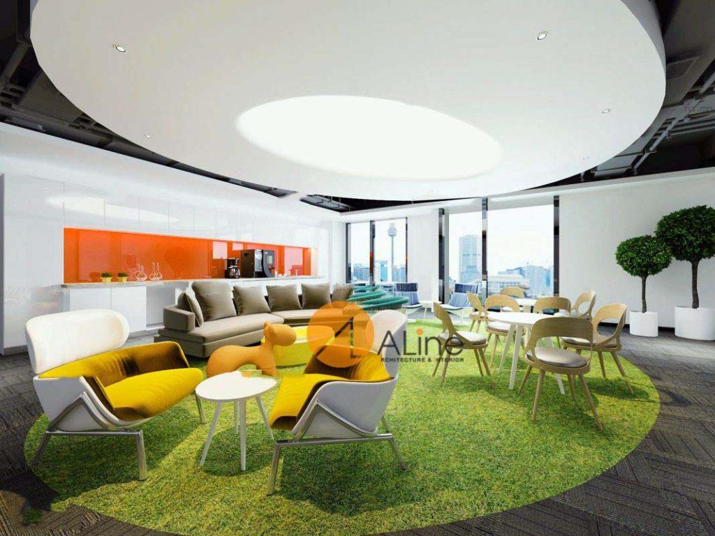 Pantry văn phòng được thiết kế sáng tạo với những điểm nhấn chấm phá để tạo ấn tượng mạnh cho thị giác.